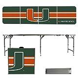 NCAA Miami Hurricanes Stripe Version Portable Folding Tailgate Table, 8'