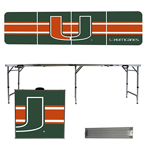 NCAA Miami Hurricanes Stripe Version Portable Folding Tailgate Table, 8' by Victory Tailgate