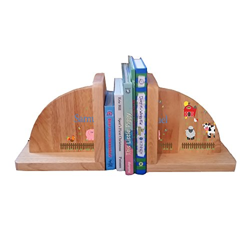 Personalized Barnyard Natural Childrens Wooden Bookends by MyBambino