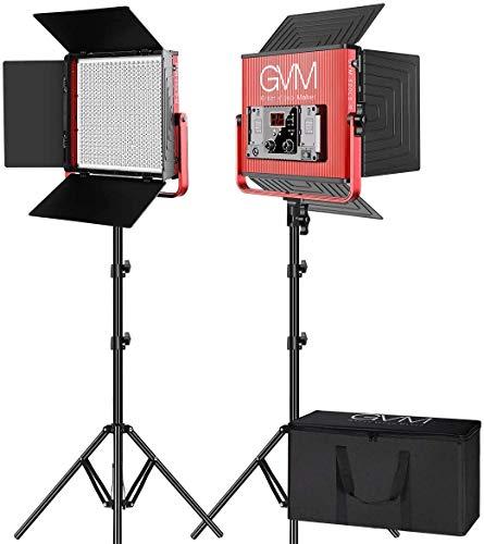 GVM Video Lighting Kits with APP Control, 2 Pack 520 CRI/TLCI 97+ High Brightness Video Lights with Stand Bi-Color 3200…