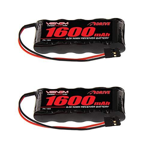 - Venom 6v 1600mAh 5-Cell Flat Receiver NiMH Battery x2 Packs