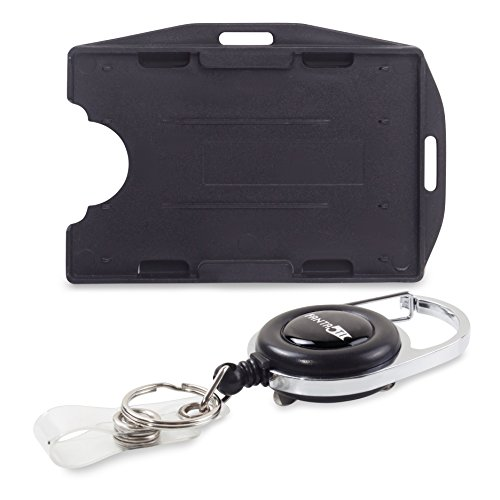 Retractable lD Badge Holder Rigid - with Carabiner Reel - Dual 2 Sided Open face Multi Card Holds Two ID Cards - Best for Both Vertical and Horizontal use ()