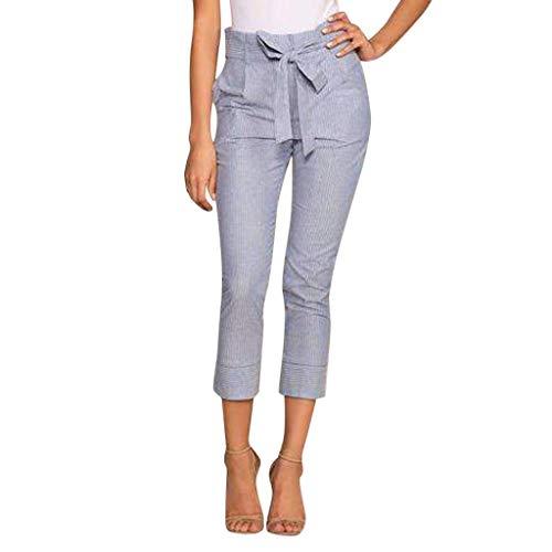 Donne Vita Stretti blue Donna Pantaloni Harem Pantaloni Ad Zolimx Moda Stripe Soprt Slim Elastico Alta Blu Casual pUCdwqnR