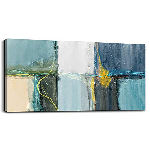 Wall Art for living room Abstract Canvas Prints Artwork bathroom Wall Decor Blue Abstract Watercolor Painting Bedroom Wall Decorations Office Works Mural Art Framed Hotel Home Decoration 24 x 48 inch