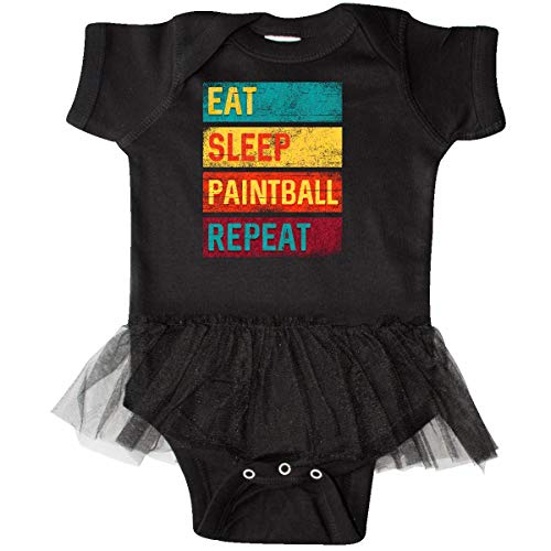 inktastic - Eat Sleep Paintball Repeat Infant Tutu Bodysuit 6 Months Black 33bfd