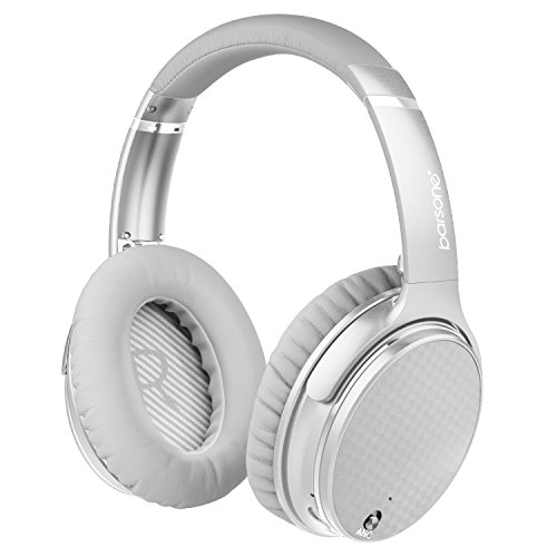 Active Noise Cancelling Bluetooth Headphones with Microphone,Barsone Hi-Fi Stereo Wired and Wireless Foldable Headphones Over Ear with Case for Travel Work (Sliver)