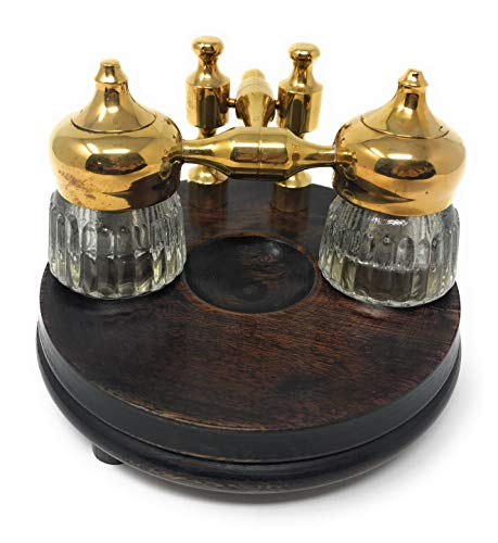 - Madison Bay Co Double Clear Ribbed Inkwells with Wood and Brass Stand, Vintage Reproduction, 5 Inches Diameter