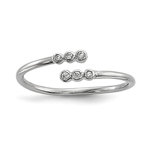 925 Sterling Silver Cubic Zirconia Cz Adjustable Band Ring Size 6.00 Fine Jewelry Gifts For Women For Her -