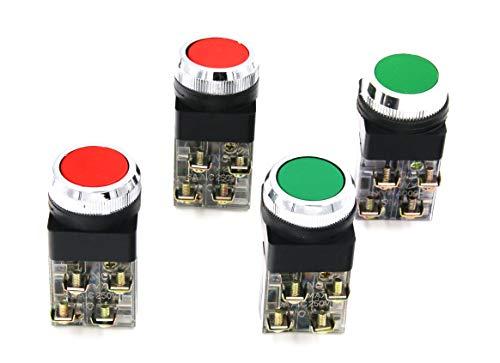 RuoFeng DPST 30mm Momentary Mushroom Head Push Button Switch AC 250V 6A 1NO 1NC 4pcs