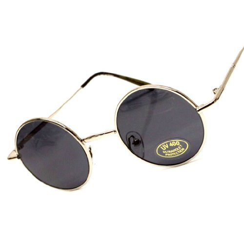 Tiny Round Circle Vintage Retro Metal Sunglasses V01 (Sd Silver Black, - Sunglasses Round Tiny
