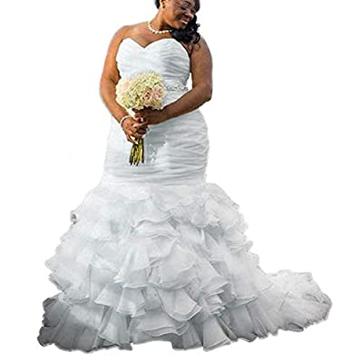 DreHouse Women's Sweetheart Beaded Pleats Mermaid Wedding Dresses Plus Size