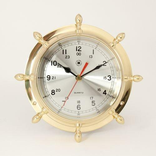 Bey-Berk International Brass Ships Wheel Clock - Tarnish Proof Bey Berk International Brass