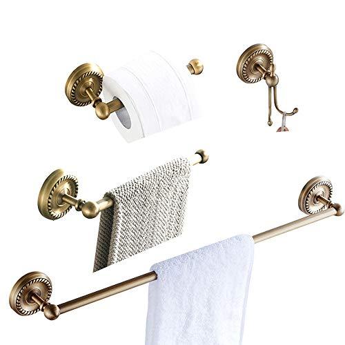 BATHSIR Antique Brass Series 4 Piece Bathroom Hardware Set Includes Towel Bar,Short Towel Ring,Toilet Paper Holder,Towel Hook