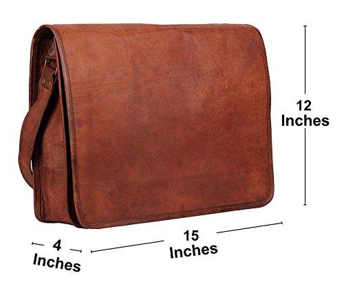 PSB 15 Inch Leather Full Flap Messenger Handmade Bag Laptop Bag Satchel Bag Padded Messenger Bag School Brown (15X11) BY UH
