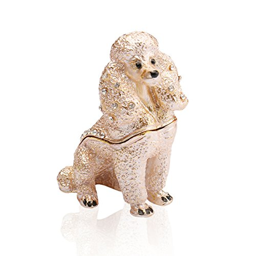 Handmade Crystal Metal Poodle Trinket Boxes Figurines Jewelry Wedding Lady - Poodle Crystal