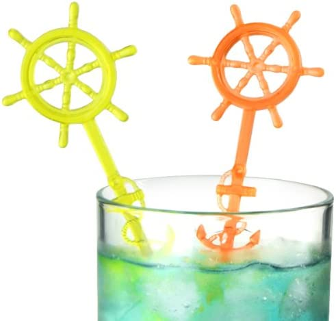 IMS Party Cocktail Sticks with Steering Wheel Design 175 mm Box of 50 in Assorted Transparent Colours