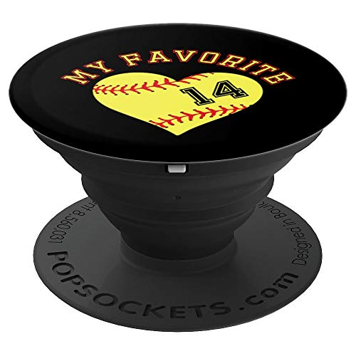 Softball Player 14 Jersey Outfit No #14 Sports Fan Gift PopSockets Grip and Stand for Phones and Tablets