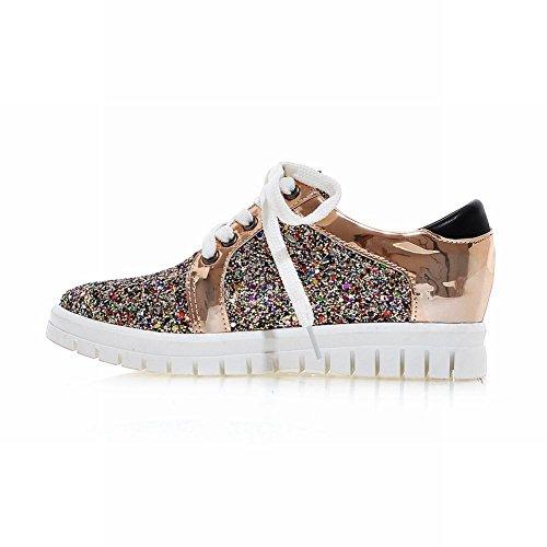 Charm Fot Kvinna Paljetter Snörning Låg Klack Mode Sneakers Guld