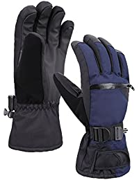 Men's Thinsulate Lined Touchscreen Snow Ski Gloves w/ Zipper Pocket