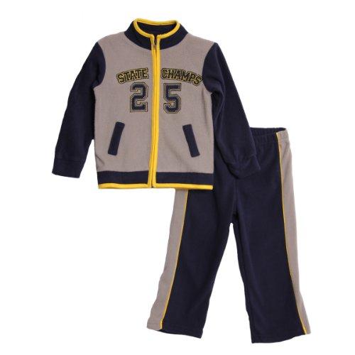 Baby Togs Baby Boys' 2 Piece Navy Yellow Polar Fleece Jacket Pants Jog Set