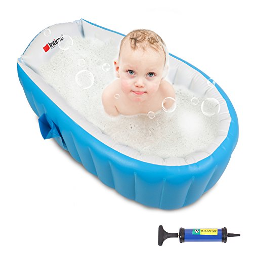 Shower Inflatable (Buringer Baby Inflatable Bathtub with Hand Pump,Baby Infant Travel Inflatable Non Slip Bathing Tub Bathtub (BLUE))