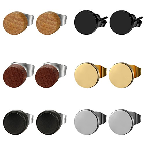 6pairs 8MM Stainless Steel Wood Stud Earrings,Pierced Post Earrring for Men Women ...