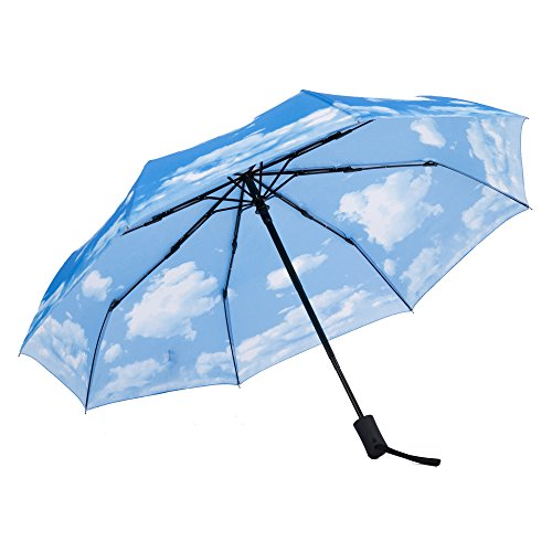 SY Compact Travel Umbrella Windproof Automatic LightWeight Unbreakable Umbrellas-factory outlet umbrella (Blue)