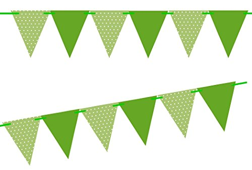 Green Banner (Green Polka Dot / Solid Green 10ft Vintage Pennant Banner Paper Triangle Bunting Flags for Weddings, Birthdays, Baby Showers, Events & Parties)