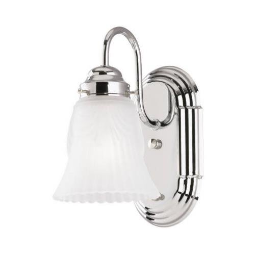 Westinghouse Lighting 66521 1-Light Wall Mount Chrome Light Fixture With On/Off Switch ...