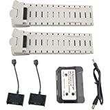 sea jump 2PCS 7.4V 2800mah Lithium Battery + 2in1 Charger for HS700 HS700D Aerial Brushless Four-axis Aircraft White Battery Remote Drone Accessories