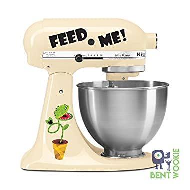 Feed Me! Little Venus Fly Trap Horror Kitchen Aid Mixer Decal - Artistic Full Color Painted Style Colorful Decal - Great for a Butcher Shop