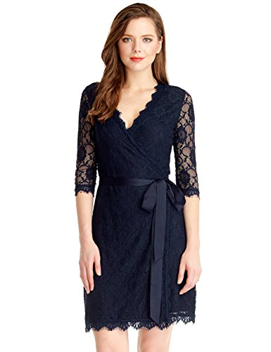 LookbookStore Women's Lace 3/4 Sleeves Mother Of The Bride Cocktail Wrap Dress