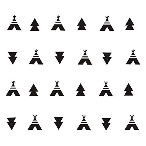 JUEKUI Set of 72pcs Camping Woodland Tribal Tent Triangle Pattern Wall Decal Stickers Removable Vinyl Modern Sticker for Kids Boy Girl Bedroom Decoration Nursery Decor WS07 (Black)