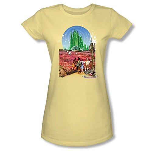 Warner Bros. Women's Wizard Of Oz Emerald City 75th Anniversary Juniors Light T-Shirt X-Large Yellow (City Light T-shirt Womens)