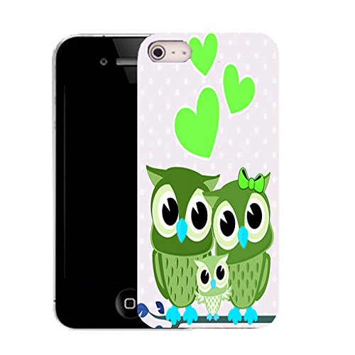 Mobile Case Mate IPhone 5S clip on Silicone Coque couverture case cover Pare-chocs + STYLET - green amore owls pattern (SILICON)