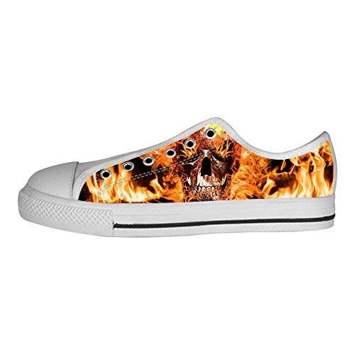 Custom skull Mens Canvas shoes Schuhe Lace-up High-top Sneakers Segeltuchschuhe Leinwand-Schuh-Turnschuhe D
