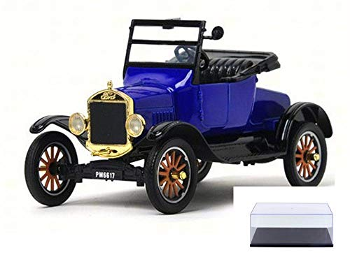 Motor Max Diecast Car & Display Case Package - 1925 Ford Model T Runabout Convertible, Blue 79327PTM - 1/24 Scale Diecast Model Toy Car w/Display Case