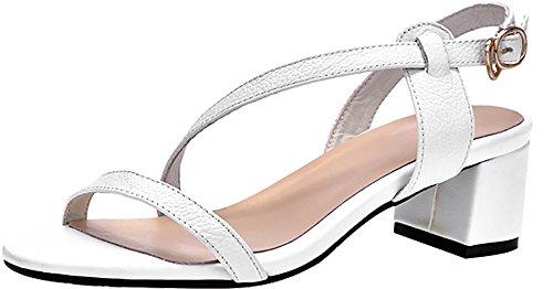 Talón Toe Hebilla Mujer Salbf Sandalias Calaier Blanco Zapatos Open Bloque 5CM qpC6PnO