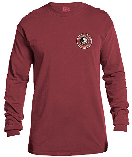 NCAA Florida State Seminoles Rounds Long Sleeve Comfort Color Tee, Large,Brick