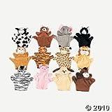 6 Plush Velour Animal Hand Puppets
