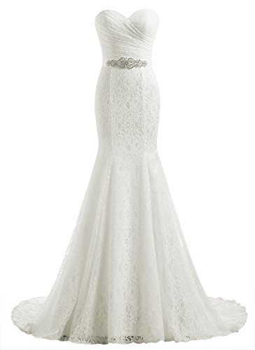 Lace Wedding Dress - Beautyprom Women's Lace Mermaid Bridal Wedding Dresses Ivory US4