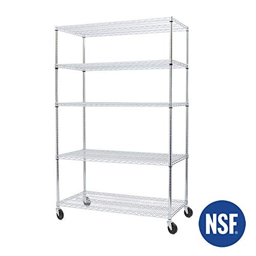 Seville Classics UltraDurable Commercial-Grade 5-Tier NSF-Certified Steel Wire Shelving with Wheel, 48