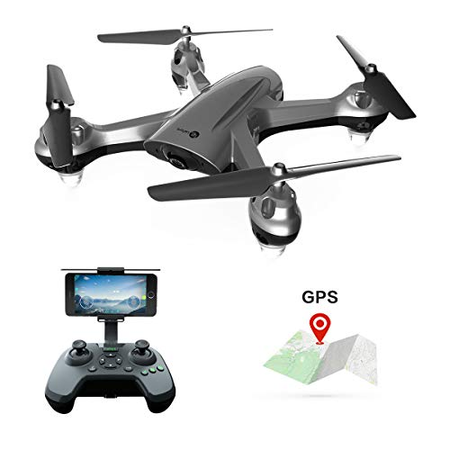 GPS FPV RC Drone with 720P Camera Live Video GPS Return Home Quadcopter Camera Drone for Adults Beginners with Follow Me Mode, Altitude Hold, Waypoint Flight and 18 Mins Long Fly Time (Gray)