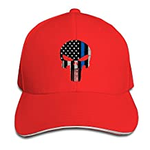 BOoottty Thin Blue Line The Punisher Logo Flex Baseball Cap Red