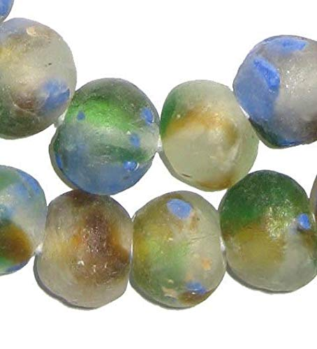 African Recycled Glass Beads - Full Strand Eco-Friendly Fair Trade Sea Glass Beads from Ghana Handmade Ethnic Round Spherical Tribal Boho Krobo Spacer Beads - The Bead Chest (18mm, Blue, Green, Brown Swirl)