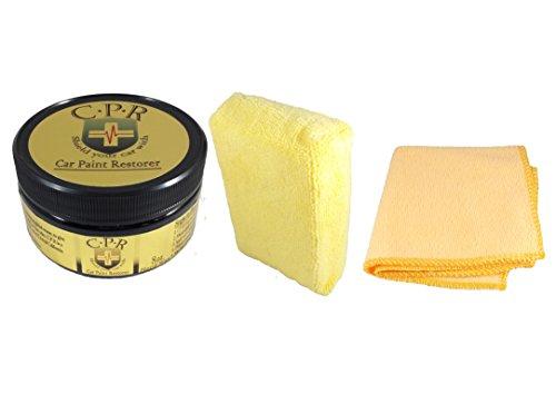 C.P.R - 8oz. All Natural Hard Car Wax - Microfiber Applicator Sponge Yellow & Microfiber Towel Orange