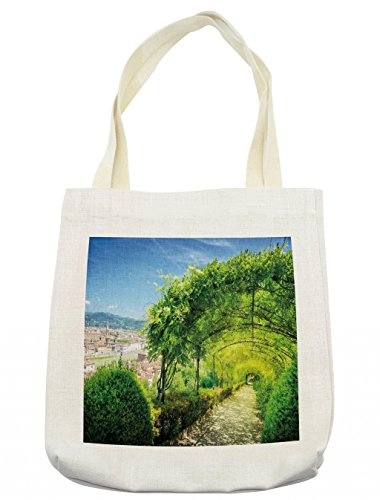(Lunarable Italian Tote Bag, Boboli Gardens in Florence Italy Famous Place Natural Landmark Tourist Attraction, Cloth Linen Reusable Bag for Shopping Books Beach and More, 16.5