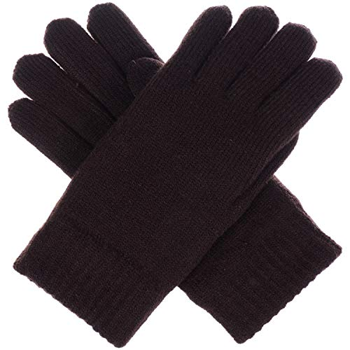 BYOS Winter Women's Toasty Warm Plush Fleece Lined Knit Gloves in Solid & Glitter Brown Winter Lined Glove