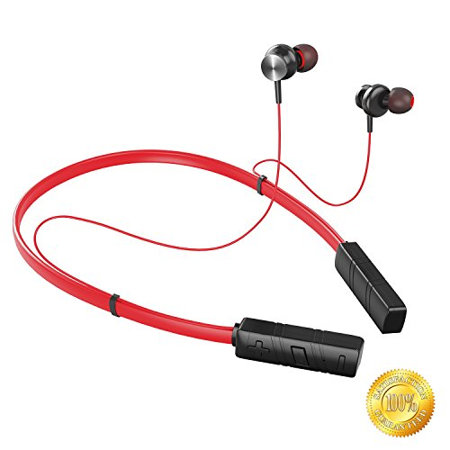 Bluetooth Headphones,Neckband Wireless Headset,Magnetic Lightweight Sport Earphones HD Stereo Sound, Noise Cancelling Earbuds w/Mic Waterproof 8 Hours Battery for Gym Fitness-SOLICE (Red)