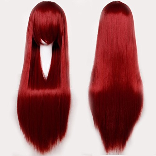 32 Inch Long Wavy Curly Anime Cosplay Wigs with Bangs Japanese Kanekalon Heat Resistant Synthetic Hair for Women Girls Halloween Costume 10 Colors(Wine (10 Unique Halloween Costumes)
